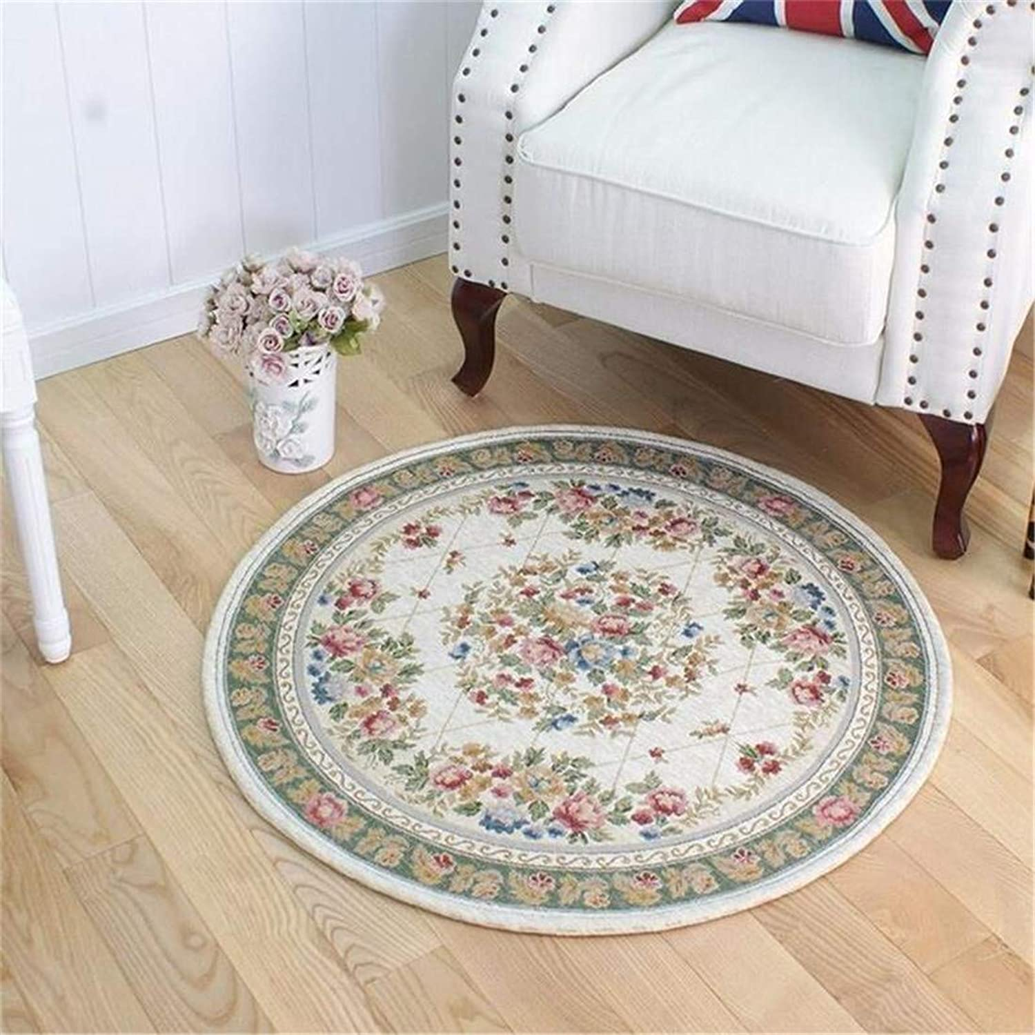 JONARO Round European Pastoral Carpets for Living Room Home Entrance Hallway Doormat Computer Chair Area Rug Exercise Yoga Mat