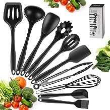 Newdora - Utensilios de Cocina de Silicona Resistentes al Calor, 10 Piezas Herramientas antiadherentes para Hornear en la Cocina, Negro