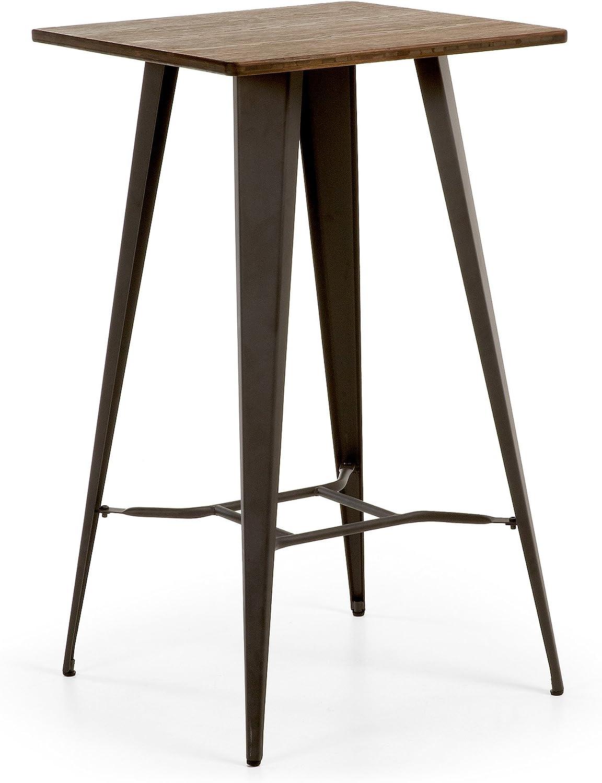 Kave Home - Mesa de Comedor Alta Malira 60 x 60 cm de Madera con Estructura de Acero en Grafito