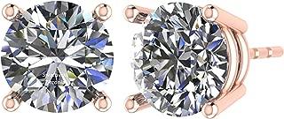 NANA Stud Earrings-Sterling Silver Round Cut Swarovski Zirconia .30ct to 8.00ct twt. Hypoallergenic