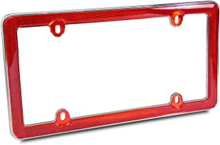 Red Reflector Chrome Plastic License Plate Frame