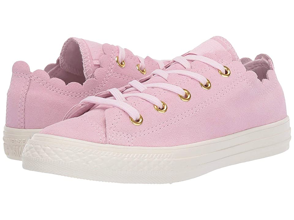 Converse Kids Chuck Taylor(r) All Star(r) Scalloped Suede Ox (Little Kid) (Pink Foam/Pink Foam/Brasss) Girls Shoes