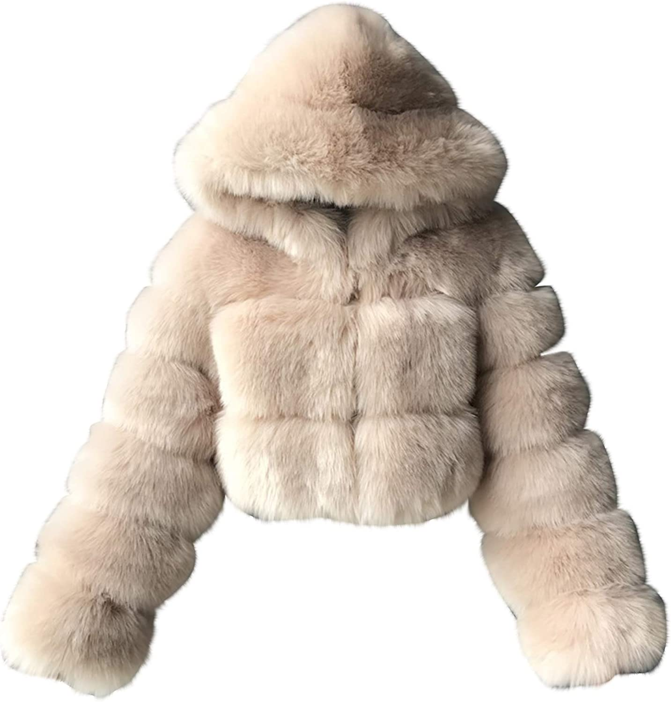 HGWXX7 Womens Coat Hoodies Plus Size Faur Fur Jacket Long Sleeve Open Front Oversized Crop Top Winter Coats Khaki