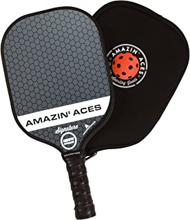 Amazin' Aces Signature Pickleball Paddle   USAPA Approved   Graphite Face & Polymer Core   Premium Grip   Paddles Available as Single or Set   Set Includes Balls & Bag   Includes Racket Case & eBook
