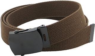 Cinturón de lona estilo militar con hebilla Negro y punta 142,2cm de largo muchos colores