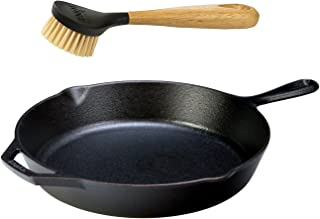 Lodge Seasoned Cast Iron Skillet with Scrub Brush- 12 inch Cast Iron Frying Pan With 10 inch Bristle Brush