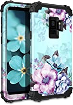 Casetego Compatible Galaxy S9 Case,Floral Three Layer Heavy Duty Hybrid Sturdy Armor Shockproof Full Body Protective Cover Case for Samsung Galaxy S9-Blue Flower