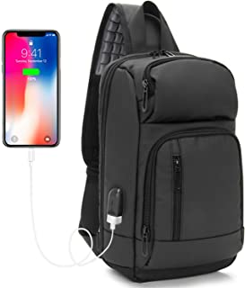 Sling Bag Crossbody Backpack 9.7 Inch with USB Charging Port Shoulder Chest Daypack for Men and Women Outdoor Sport Gym Hiking Cycling Day Trip by KINGLONG