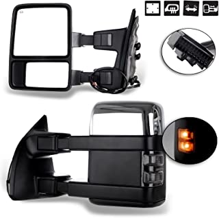 SCITOO fit Ford Towing Mirrors Chrome Rear View Mirrors fit 2008-2016 Ford F250 F350 F450 F550 Super Duty Truck Larger Glass Power Control, Heated Turn Signal Manual Extending Folding