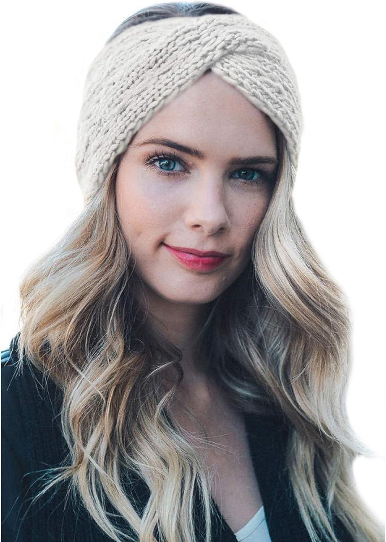TIENCIY Womens Winter Warm Beanie Headband Soft Stretch Skiing Cable Knit Cap Ear Warmer Headbands
