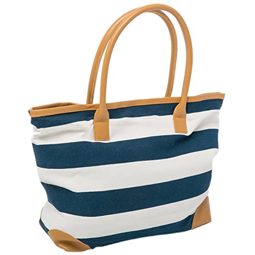 Beach Bag Canvas Tote Bags Striped Summer Nautical Tote Shopper for Ladies  size 18