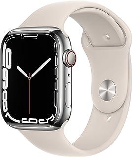 AppleWatch Series7 GPS+Cellular • 45mm rostfri stålboett silver • Sportband stjärnglans –standard