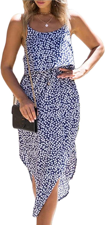 Allfennler Women's Fasion Summer Polka Dot Side Split Spaghetti Strap Irregular Swing Long Dress