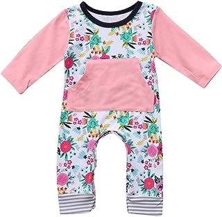 Binwwe Neugeborenen Baby Mädchen Langarm Floral Strampler Overall mit Känguru-Tasche