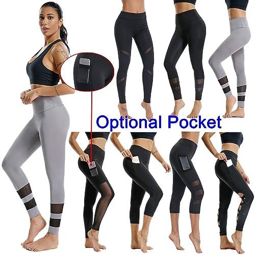 ecdffdeff29 Fitness Women Workout Yoga Leggings - Mesh Designed Sport Running Pants  with Optional Pocket