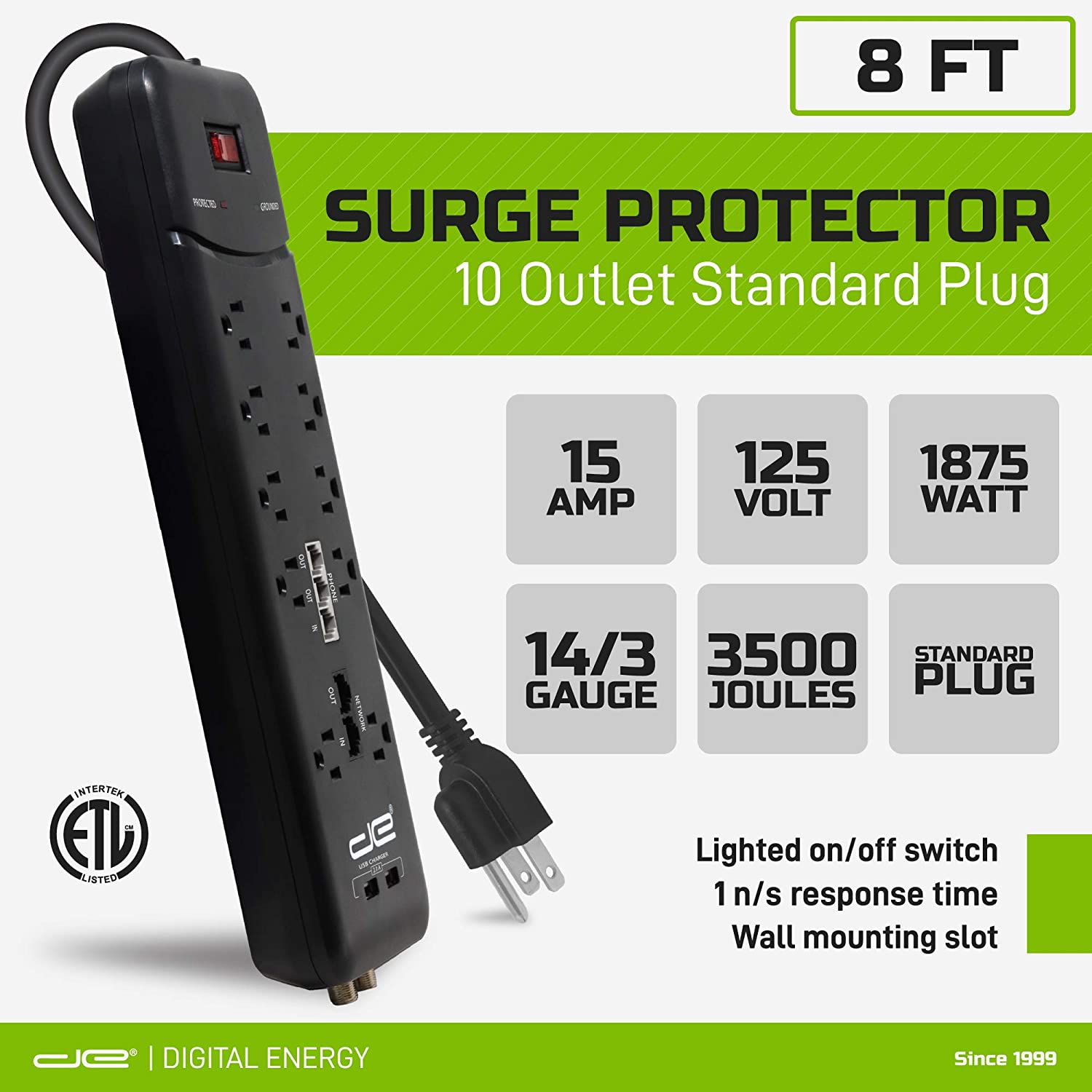 Digital Energy 8-ft Heavy Duty 10-Outlet 3500 Joules Surge Protector Power Strip, 8 Foot Long Extension Cord, Two USB Charging Ports, Coaxial, Phone Protection, ETL Listed. 15 AMP, Black