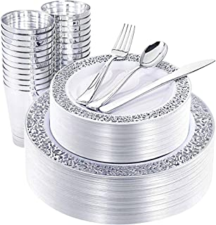 NERVURE Plastic Plates with Silverware (Silver)
