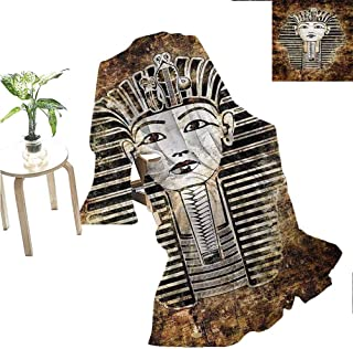 Egypt Camp Chair Blanket Ancient Primitive Pharaoh King Mummy Head Image with Abstract Image Throw Blanket Dark Brown White and Black 70x60 Inch