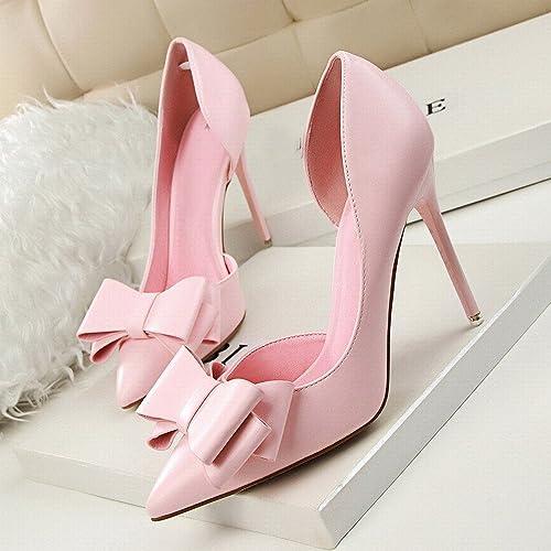 DHG zapatos de Tacón Dulce de Moda con Tacón Alto, Puntiagudo Y Puntiagudo en Los zapatos Huecos,UN,36