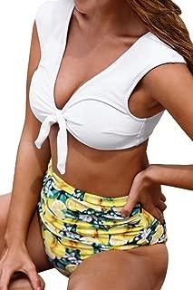 CUPSHE Women's Sweet Lemon Front Knot Ruching High Waisted Bikini Sets