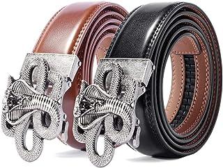 حزام رجالي، حزام بسقاطة منزلقة للرجال أحزمة جلدية أصلية (قطعتان)