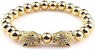 GVUMSIL Luxury Charm 8mm Natural Stone Leopard CZ Crown Distance Elastic Bead Bracelet for Men Women