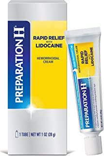 Preparation H Rapid Relief with Lidocaine Cream Hemorrhoid Symptom Treatment, Numbs Pain, Burning, and Itching, Reduces Sw...
