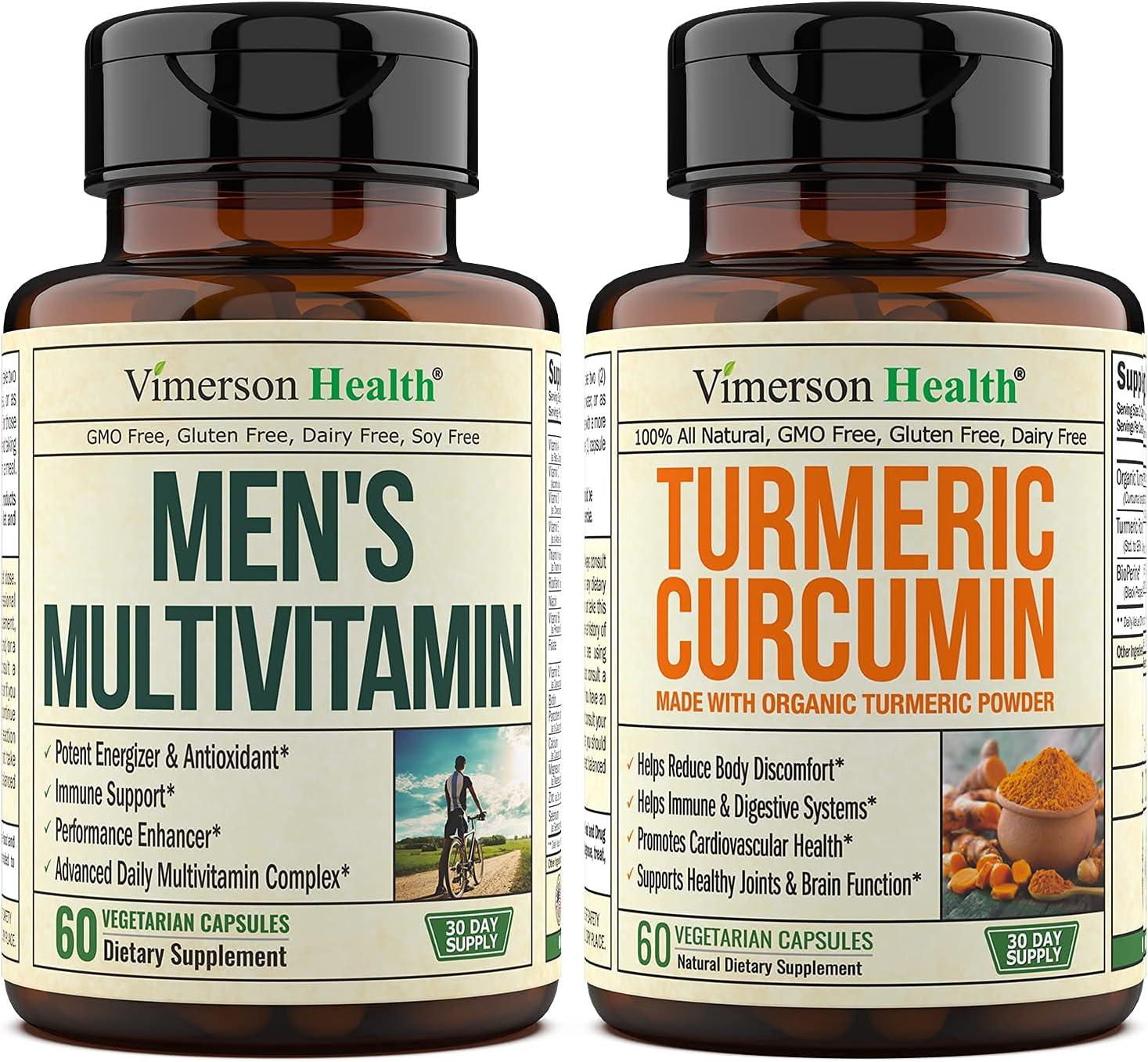 Vimerson Health New York Mall Men's Multivitamin + Turmeric High quality new BioPe with Organic
