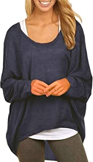 7f25b46cd7 UGET Women s Sweater Casual Oversized Baggy Off-Shoulder Shirts Batwing  Sleeve Pullover Shirts Tops