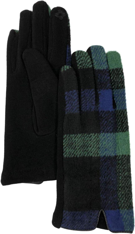 Womens Blue & Green Plaid Stretch Fit Text & Tech Touchscreen Gloves