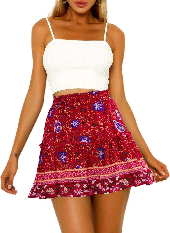 Hibluco Women' Floral Layered Ruffles Tie Short Waist Portland Finally resale start Mall up High Pl