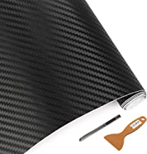 LZLRUN 3D Carbon Fiber Vinyl Wrap - Outdoor Rated for Automotive Use - 12 inches x 60 inches Contain Knife and Hand Tool (Black)
