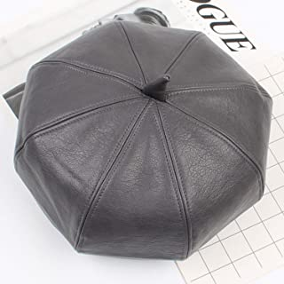 Lxy Hat Female Autumn and Winter Leather 8 Square Cap Belle Travel Fashion wk (Color : Gray, Size : Adjustable)