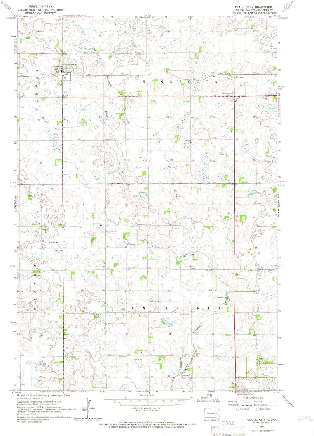 Sales YellowMaps Factory outlet Claire City SD topo map Min Scale 1:24000 X 7.5