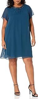 فستان قصير بياقة مطرزة بالترتر وأكمام للنساء من S.L. Fashions