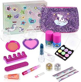 Anpro 15pcs Kit de Maquillaje NiñasJuguetes para Chicas Cosméticos Lavables Regalo de Princesa para Niñas en FiestaCum...