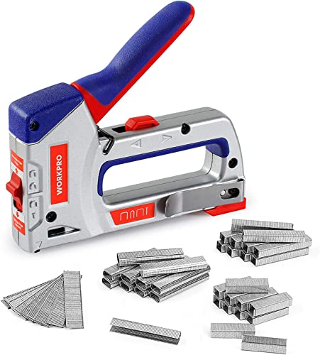 wholesale WORKPRO Heavy-Duty 4-in-1 Staple Gun Kit, new arrival Manual Brad Nailer with 3000 Staples and 1000 Brad Nails, for Upholstery, Material Repair, Decoration, new arrival Furniture, Doors, Windows, Carpentry & Home DIY Use online sale