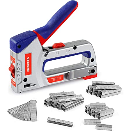 WORKPRO Heavy-Duty 4-in-1 Staple Gun Kit, Manual Brad Nailer with 3000 Staples and 1000 Brad Nails, for Upholstery, Material Repair, Decoration, Furniture, Doors, Windows, Carpentry & Home DIY Use