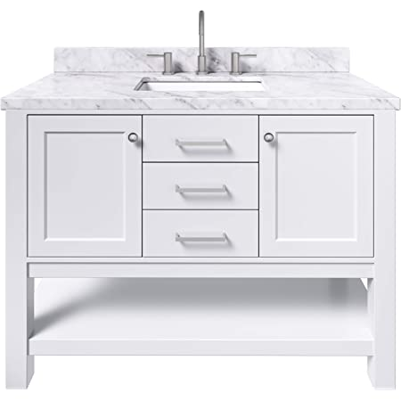 Amazon Com Ariel Bayhill 49 Inch Bathroom Vanity In White W 1 5 Edge Carrara Marble Countertop Rectangle 2 Soft Closing Doors And 2 Dovetail Full Extensions Drawers Open Storage Space