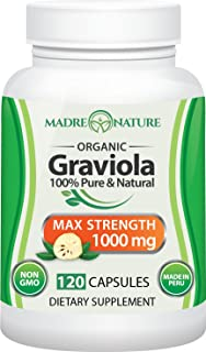 Organic Graviola (Soursop) Supplement Max Strength 1000 Milligrams - Non-GMO, Vegan Capsules for Immune & Mood Support - Premium Dietary Supplement for Healthy Cell Growth & Positive, Balanced Mood