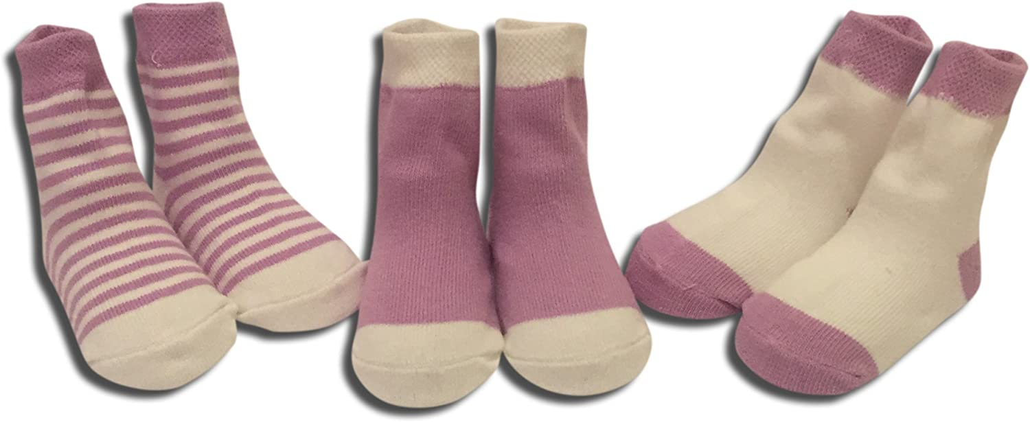 Wits + Beaux Premium 3 pack Baby Girls Purple Socks ages 6-24 months Purple White