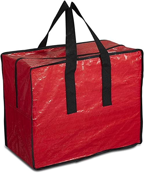 ProPik Holiday Ornaments Accessories Storage Bag Tear Proof Tarp 18 X 10 X 15 With Handles And Full Length Zipper Red