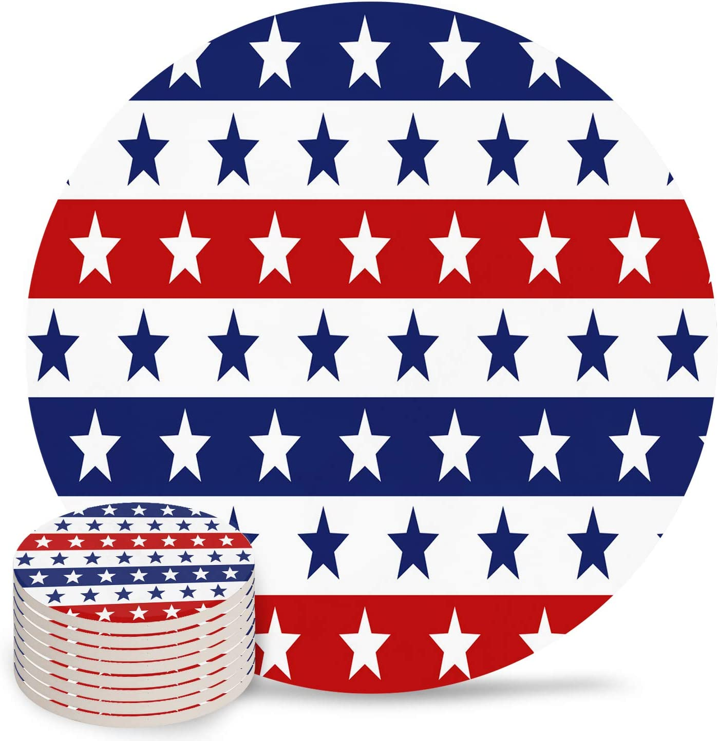 Independence Day Coasters for Drinks Regular store Absorbent Flag Cer favorite American