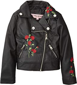 Devin Faux Leather Embroidered Moto (Little Kids/Big Kids)