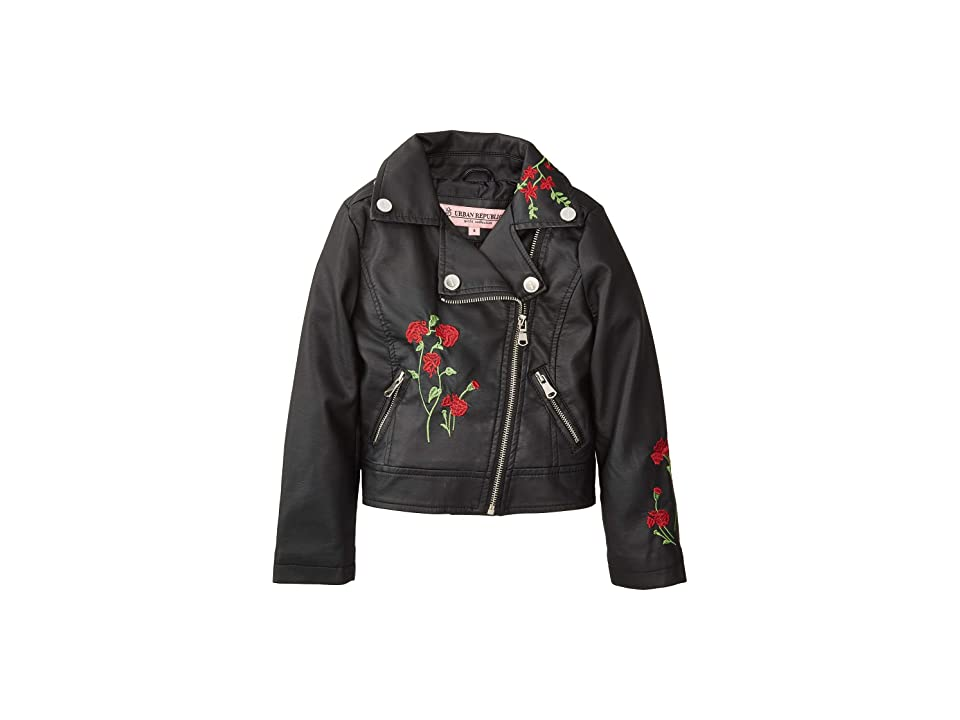 Urban Republic Kids Devin Faux Leather Embroidered Moto (Little Kids/Big Kids) (Black) Girl