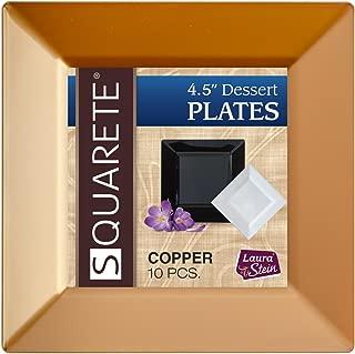 Squarete 4.5'' inch Copper Square Party Plates Dessert Plates Hard Plastic Elegant Disposable 10 Dessert Plates Per Package Pack Of 3