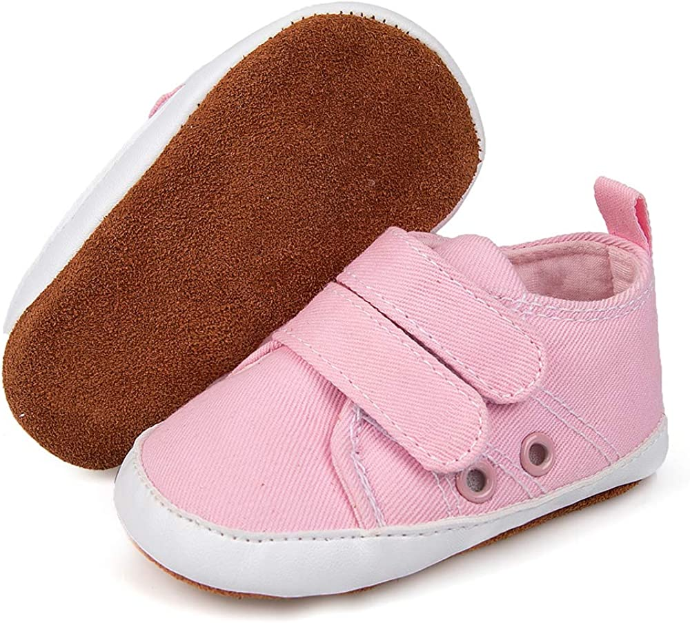 Timatego Infant Baby Boys Girls Canvas Shoes Breathable Leather Moccasins Soft Sole 2 Straps Newborn Toddler First Walker Crib Shoes Sneaker 3-18 Months