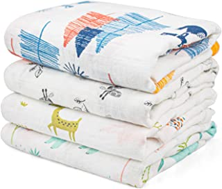 Kingrol 4 Pack Baby Muslin Swaddle Blankets, Soft Unisex Swaddle Wrap for Boys and Girls, Foxes/ Elk/ Elephants