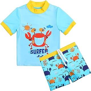 ملابس سباحة XFGIRLS للأولاد الصغار من قطعتين بأكمام قصيرة وسروال