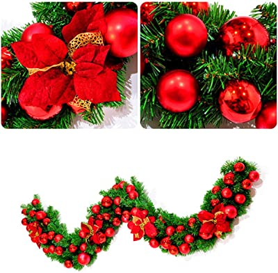 Blue PandaHug Pre-Lit Decorated Garland 270cm Christmas Garland Decoration Illuminated with Warm LED Lights Golden Baubles Flowers Artificial Wreath for Fireplaces Stairs Decoration